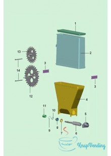 Бункер растворимых ингредиентов старого образца c 2 шестернями